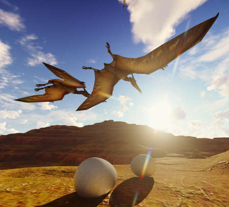 Flying pterodactyl against the beautiful cloudscape 3d illustration Stock Photo