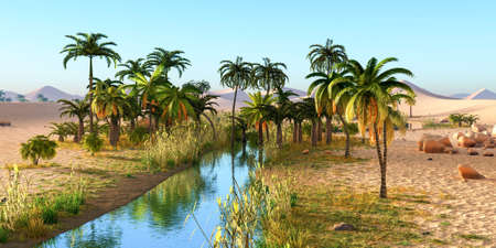 Lush spectacular plants on wilderness in the evening, 3d rendering