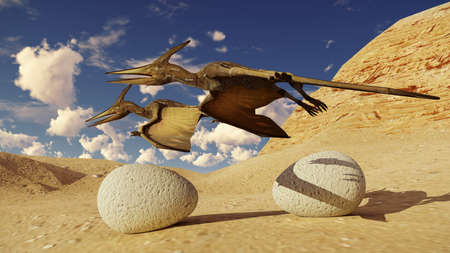 Egg and pterodactyl 3d rendering Stock Photo