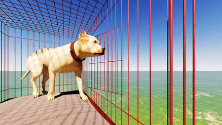 dog getting out of cage 3D rendering Stock Photo