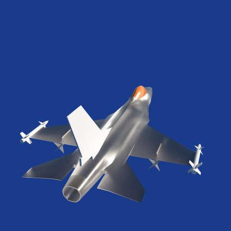 Fighter jet flying against a blue sky 写真素材
