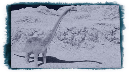 Huge diplodocus on barren land 3d rendering