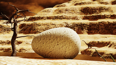Huge dinosaur egg with parent diplodocus in the background 3d rendering Stock Photo