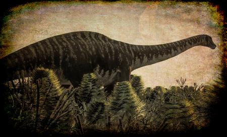 Huge Diplodocus in wetland at sunset, 3d illustration Фото со стока
