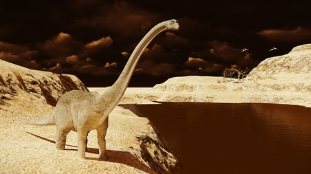 Huge diplodocus on barren land 3d rendering Фото со стока - 107656589