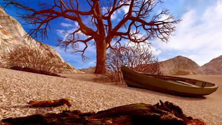 Solitary dead tree in desert 3d illustration Standard-Bild - 125575255