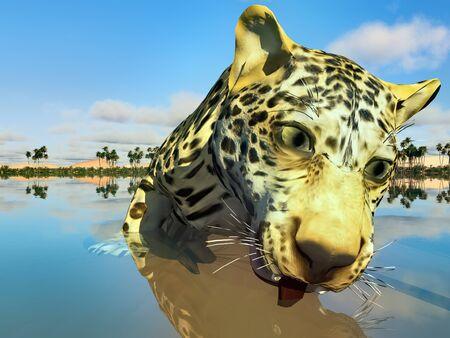 Big leopard in lake 3d illustration