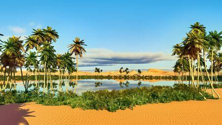Palmen in der Nähe von Oase in Afrika 3D-Rendering