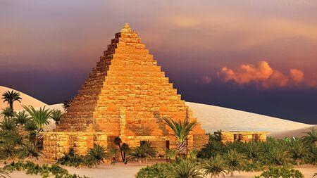 Pyramid at Sahara oasis 3d rendering