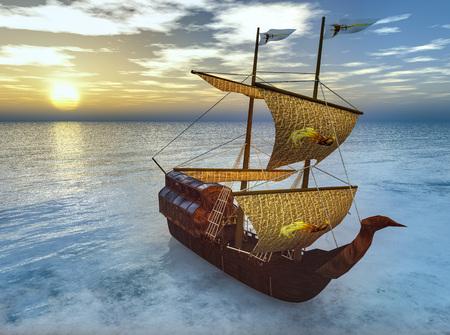 Bateau pirate en mer rendu 3d