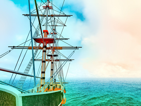 Pirate ship at sea 3d rendering Banque d'images