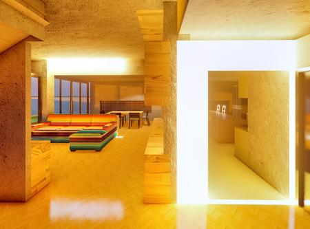 Modern looking interior of room 3d rendering 版權商用圖片