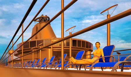 Huge luxury cruise ship 3d rendering