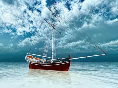 Pirate ship at sea 3d rendering 版權商用圖片