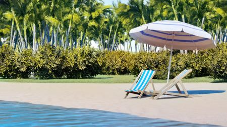 Beach chair at sunny coast. Seychelles 3d rendering 版權商用圖片