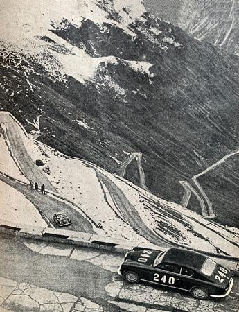 Passo del stelvio car race in 1957