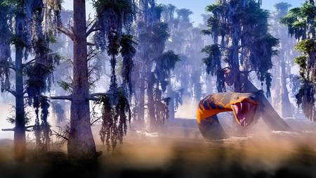 Snake in the swamp grown with bald cypress 3d rendering 版權商用圖片