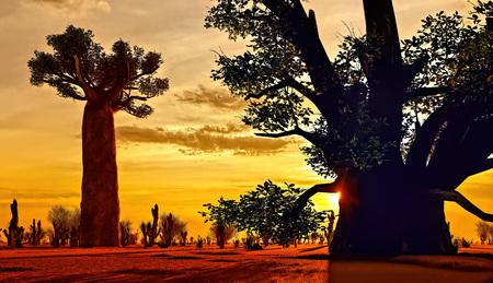 Awesome baobabs in African savannah 3d rendering 版權商用圖片