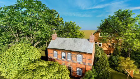 Traditional English Country Cottage in summer 3d illustration