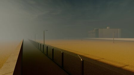 old prison in the fog 3d rendering