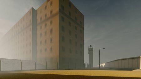old prison in the fog