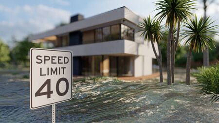 flooded road during a flood caused by heavy rain 3d rendering Stock Photo