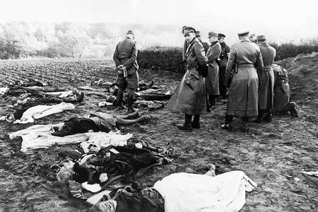 October 1944 German officers in the village of Nemmersdorf,
