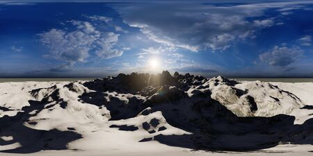 Flying over mountains in the sunny day 3d rendering