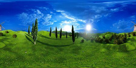 Lavender fields landscape 3d rendering Reklamní fotografie