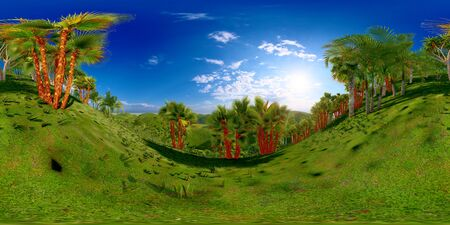 Tropical park in the afternoon 3d rendering Reklamní fotografie - 146420024