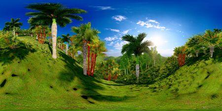 Tropical park in the afternoon 3d rendering Reklamní fotografie