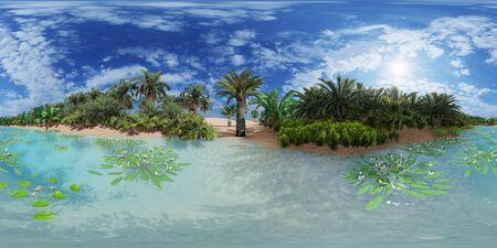 Palm trees near oasis in Africa 3d rendering Reklamní fotografie - 146420048