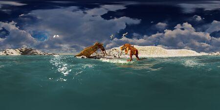 Dinosaurs Jurassic prehistoric scene 3d rendering