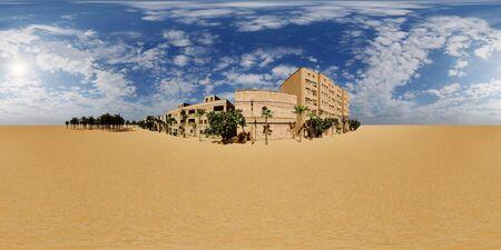 Arabic small town on desert, 3d rendering Reklamní fotografie - 146420245