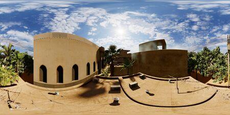 Arabic small town on desert, 3d rendering Reklamní fotografie - 146420246