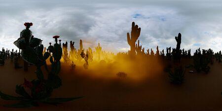 American desert at sunset 3d rendering Reklamní fotografie