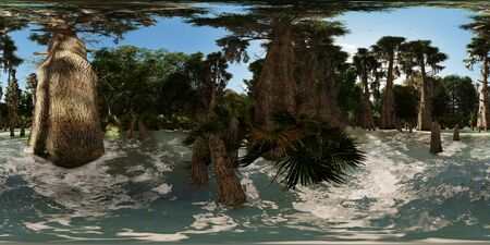 Spooky bald cypresses in the swamp 3d rendering 360 panorama Reklamní fotografie