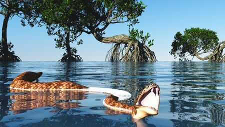Snake in red mangroves on Florida coast 3d rendering Reklamní fotografie