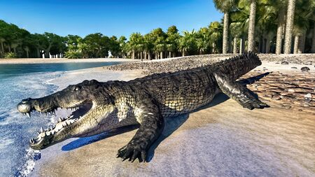 The crocodile rests by the river 3d rendering Reklamní fotografie