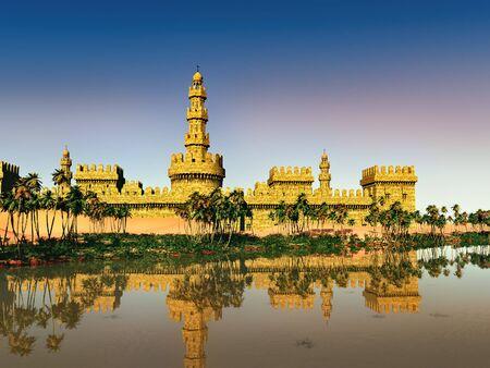 Arabic small town on desert, 3d rendering Reklamní fotografie - 146420502