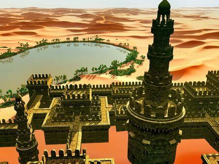 Arabic small town on desert, 3d rendering Reklamní fotografie - 146420503