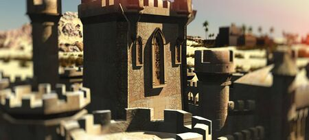 Arabic small town on desert, 3d rendering Reklamní fotografie - 146420508