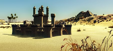 Arabic small town on desert, 3d rendering Reklamní fotografie - 146420509