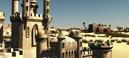 Arabic small town on desert, 3d rendering
