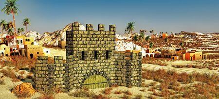 Arabic small town on desert, 3d rendering Reklamní fotografie - 146420517