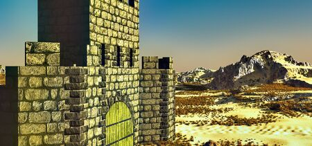 Arabic small town on desert, 3d rendering Reklamní fotografie - 146420519