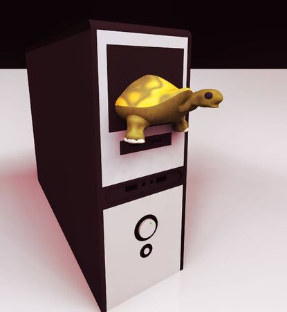 turtle and slow computer with keyboard, slow internet 3d rendering Reklamní fotografie
