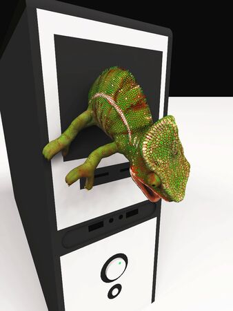 chameleon and slow computer 3d illustration Reklamní fotografie