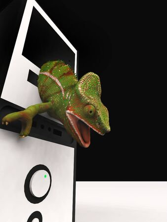 chameleon and slow computer 3d rendering