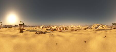 Arabic small town on desert in 360 panorama 3d rendering Reklamní fotografie